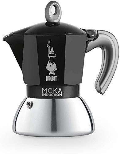 Bialetti New Moka Induction Caffettiera Adatta all'Induzione, 2 Tazze, 90 milliliters, Alluminio, Nero
