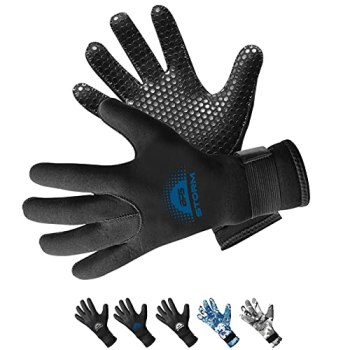 BPS 3mm Neoprene Dive Gloves with Anti Slip Palm - Five Finger Gloves for Sailing, Spearfishing, Paddleboarding, and Other Water Activities - for Men and Women (Black / Snorkel Blue, Large)