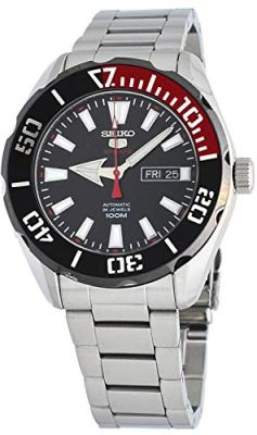 Seiko 5 Sports SRPC57 Men's Stainless Steel Black Dial 100M Automatic Watch