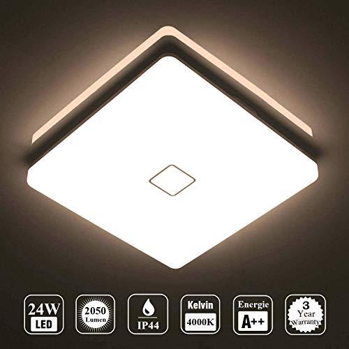 uesen 24W LED Lampada Plafoniera impermeabile a soffitto sottile Bianco naturale 4000K per soggiorno...