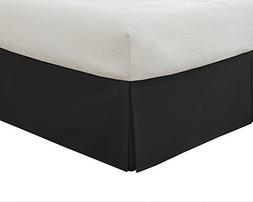 Lux Hotel Tailored Bed Skirt Classic 14' Drop Length Pleated Styling, King, Black