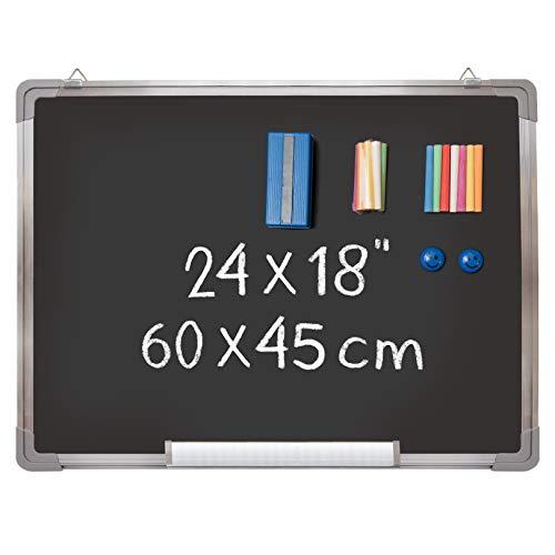Kit Lavagna Ardesia - Lavagnetta Magnetica Gesso 60x45cm con 1 Cancellino Magnetico, 14 Gessetti (7...