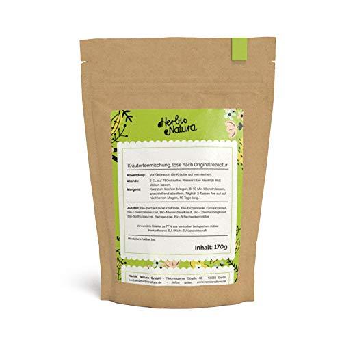 Herbis Natura Teemischung zur Unterstützung der Leberfunktion, loser Tee, Kräutermischung aus 88 % Bio-Kräutern, nach Originalrezept, Tee-Kur für 10 Tage, 170 g