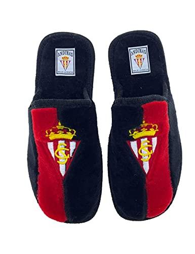 Zapatillas de casa de equipos de fútbol con licencia oficial Real Sporting de Gijón - Color - Rojo, Talla - 46