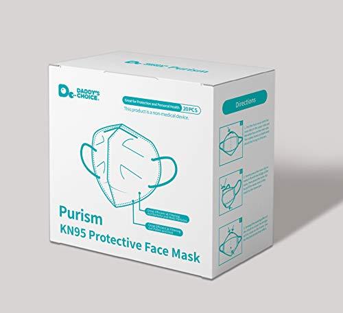 Purism Maschera Protettiva KN95 con Filtro Respiratore, Filtrazione al 94% (Confezione da 20 Pezzi)