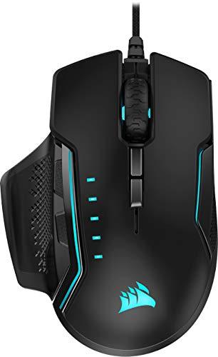 Corsair Glaive RGB Pro - Ratón cómodo para Juegos FPS/MOBA (agarres Intercambiables, retroiluminación LED RGB, 18.000 PPP, óptico) (CH-9302211-EU) Negro