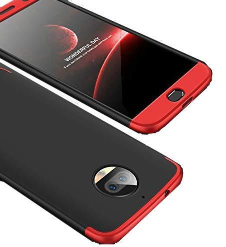 BCIT Moto G5S Plus Funda Funda Moto G5S Plus 360 Grados Integral para Ambas Caras + Cristal Templado, Luxury 3 in 1 PC Hard Skin Carcasa Case Cover para Moto G5S Plus (Rojo & Negro)