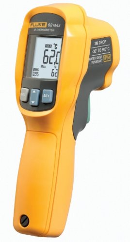 Fluke 62 MAX Infrared Thermometer, AA Battery, -20 to +932 Degree F Range with a NIST-Traceable Calibration Certificate with Data