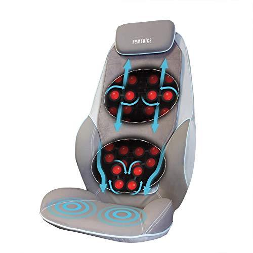 HoMedics ShiatsuMax, Sedile Massaggiante Shiatsu per Schiena, Area Lombare e Spalle, Poltrona Massaggiante Regolabile per un Massaggio Personalizzato con Vibrazione e Funzione Calore