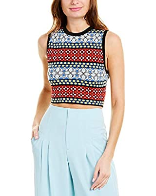 About the brand: A whimsical, and flirty celeb favorite. Approximately 16.5in from shoulder to hem Coryn Shell in multicolor with printed design, crew neck, and ribbed trim 62% viscose, 34% polyester, 4% spandex Dry clean only
