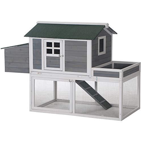 PawHut 63' Wooden Backyard Chicken Coop with Garden Box, Run Area, Nesting Box, Grey