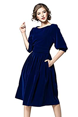 """Rounded neckline,3/4 sleeves Two side pockets,knee-length,exposed back zipper Garment Care:Machine wash,Package Includes:1 x Midi Dress Model is 5'8""""/173cm 101lbs and wears Size 4 Usually , Asian Size S = US 4, Asian Size M = US 6, Asian Size L = US ..."""