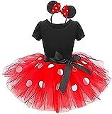 Girls Princess Wedding Cartoon Polka Dots Birthday Tutu Dress Up Costume Leotard Ballet Gymnastic Skirt +Mouse Ear Clothes Set Red+Black(Big Dots) 18-24 Months