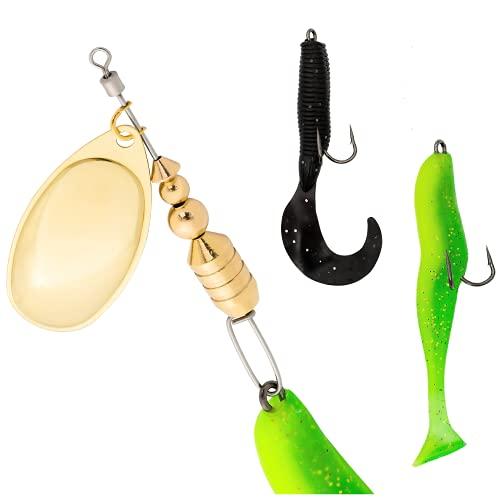 FUTTERFISCH Spinner - Pesce in gomma combinata, 19 cm, 24 g, con due pesci in gomma intercambiabili, con ganci gemelli, esche da pesca per luccio, pesce persico, luccioperca, pesce e trota