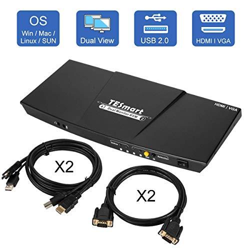 TESmart Doppel Monitor KVM Switch,4K Ultra HD mit 3840 x 2160 bei 30 Hz 1080P; unterstützt USB 2.0 Gerätebedienung bis max. 2 Monitore und 2 Computer/Server/DVR mit 2 Stück 5ft HDMI KVM Kabeln