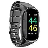 ELEXTOR Earbuds SmartWatch,2019 Newest M1 AI Earphone Smart Watch Built-in TWS Wireless Bluetooth Earphone Blood Heart Rate Monitor Kcal Sports Smart Wristband Long Time Standby (Black)