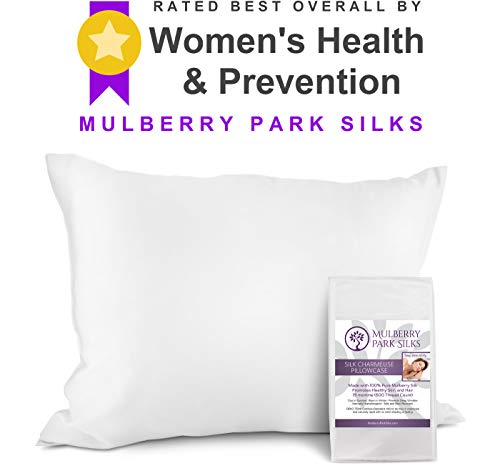 100% Pure 19 Momme Mulberry Silk Pillowcase on Both Sides, Hypoallergenic Soft Breathable for Improved Sleep Hair and Skin, Envelope (no Zipper!) Closure, 600 Thread Count, Oeko-TEX - White, Standard