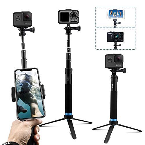 AuyKoo Bastone Selfie per Gopro Camera, Selfie Stick Telescopico Palo di Monopiede Pole con Treppiede per Gopro hero8/hero7/6/5 Action Camera, Cellulare, Fotocamera, DJI OSMO Action Cam