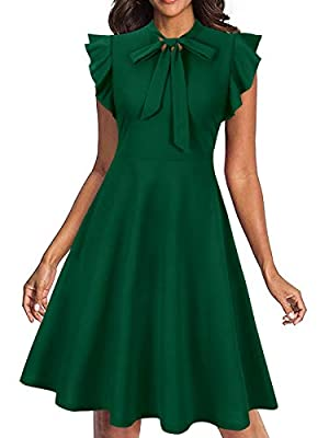 ✿ Soft and stretchy, this vintage summer dress for women is very comfortable and can be easily dress up and down. ✿ This vintage dresses for women features with tie round neck, sleeveless, ruffle details, hidden side-zip, a line dress for women,retro...