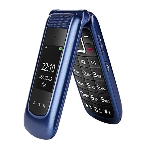 GSM Téléphone Portable Senior Clapet Débloqué avec Grandes Touches,Big Volume Bouton SOS,Basique Telephone Mobile pour Personne Agée (Bleu)