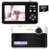 Digital Camera, 24MP Point and Shoot Camera with 32GB Micro SD Card, 2.4 Inch LCD Screen Portable Mini Compact Digital Camera with Macro Function for Kids Students Amateurs