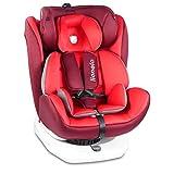 Lionelo Bastiaan siege auto bebe 0 à 36kg Isofix Top Tether Rotation à 360 degrés protection supplémentaire latérale harnais à 5 points coussin réducteur Dri-Seat (Rouge)