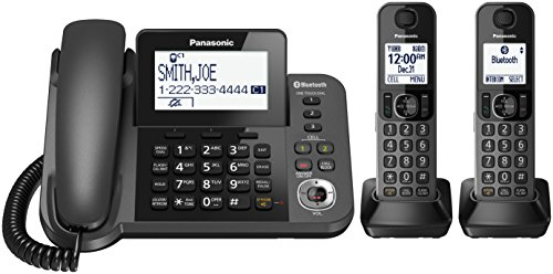PANASONIC Bluetooth Corded / Cordless Phone System with Answering Machine, Enhanced Noise Reduction and One-Touch Call Block - 2 Handsets - KX-TGF382M (Metallic Black)