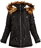 Madden Girl Women's Heavyweight Puffer Anorak Jacket with Sherpa Fur Lined Hood, Size Large, Black'