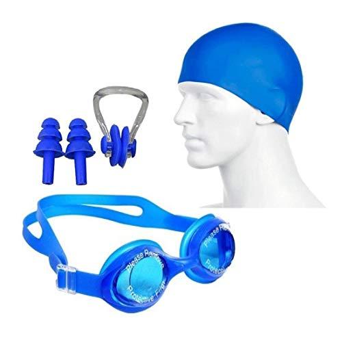 Neulife Swimming Set # Cap, Google, Ear Plug & Nose Clip Swimming Kit (Blue)