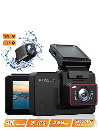 Kingslim D4 4K Dual Dash Cam with Built-in Wi-Fi GPS, Front 4K/2.5K Rear 1080P Dual Dash Camera for...