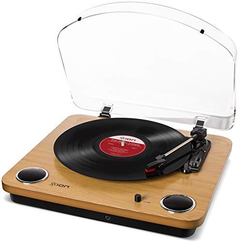 ION Audio Max LP – Platine Vinyle de Conversion avec Trois Vitesses et Enceintes Stéréo, Sorties USB et RCA – Finition en Bois Naturel