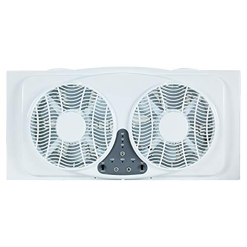 Simple Deluxe 9-Inch Dual Twin Window Fans Reversible Air Quiet Flow with Exhaust and Intake, 9', White