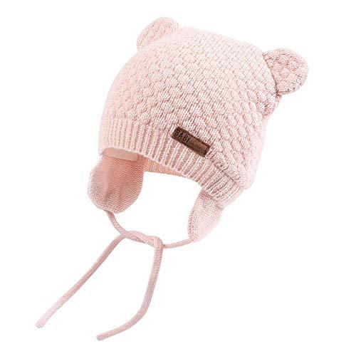 DRESHOW Unisex Baby Mütze Süßer Bär Kleinkind Earflap Beanie Strickmütze Warm Herbst Wintermütze, Pink, Gr.- 0-7 Monate/ Small