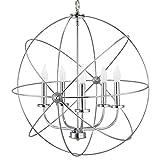 Kira Home Orbits II Large 24' 5-Light Modern Sphere/Orb Chandelier, Chrome Finish