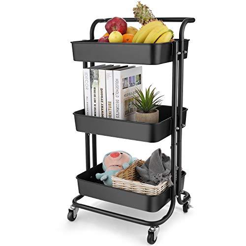 Himimi 3 Etagen Küchenwagen Servierwagen Rollwagen mit abschließbaren Rädern, Gitterkorb für Küche Büro Bad Schwarz