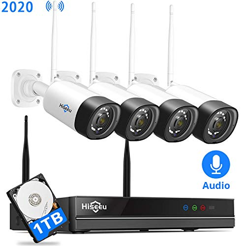 8Channel,Audio Hiseeu Wireless Security Camera System,4Pcs 1080P Cameras 8Channel NVR,Mobile&PC Remote,Outdoor IP66 Waterproof,Night Vision,Motion Alert,Plug&Play, 7/24/Motion Record,1TB HDD