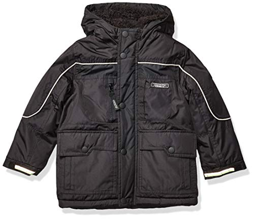 London Fog Boys' Warm Winter Coat Parka with Cozy Trimmed Hood ,Black no Trim, 10/12