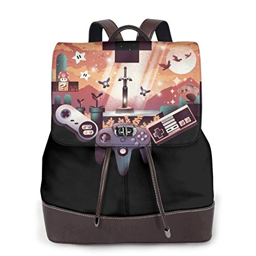 Video Games Pixel Heartladies Leather Backpack, Leather Fashion Backpack Travel Daily Backpack