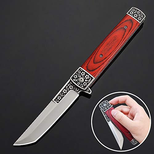 Eil Klappmesser Scharfes Outdoor Messer Jagdmesser & Survival Knife Einhandmesser Taschenmesser mit Edelstahlklinge (Rot)