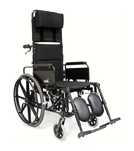 Karman Lightweight Reclining Wheelchair with Quick Release Axles, Black, 16'x18' by Karman