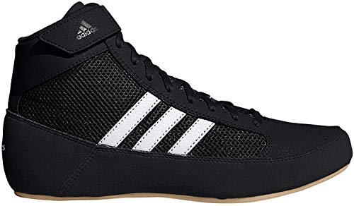 adidas Kids' HVC Wrestling Shoe, Black/White/Iron Metallic, 2