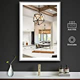 OOWOLF LED Bathroom Vanity Mirror, 26 x18 Inch Anti Fog 4000K Dimmable LED Bathroom Wall Mounted Makeup Mirror Vertical & Horizontal