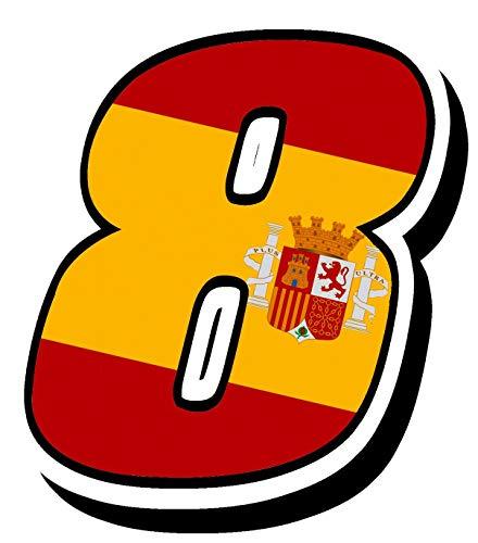 Biomar Labs® Número 8 Bandera Nacional España Spain Calavera Vinilo Adhesivo Pegatina Coche Auto Motocross Moto Sport Start Racing Tuning N 288