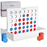 YESMARKS Wooden 4-in-a-Row Game - Connect 4 Game Portable Tic Tac Toe Tabletop Board Set for Family Picnic, Camping, Party, Travel - 42 Red and Blue Toy Chips - Storage and Carrying Bag