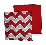 Baby Doll Bedding Chevron Round Crib Sheet Set, Red, 2 Piece