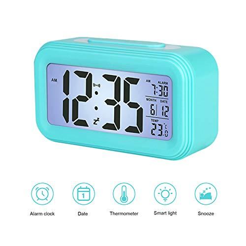 Smart Digitaler Wecker, LED Kinderwecker mit Lichtsensor, 5 Minuten Snooze, 12/24 Stunden Digitaluhr Wecker mit Datum Temperatur, Digitale Wecker mit Großem Display für Kinder Studenten und Erwachsene