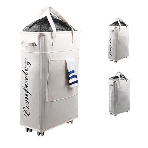 Comfortez Wäschesammler mit Rädern, 63,5 cm, atmungsaktiver Bezug, strapazierfähig, wasserdicht, faltbarer Wäschekorb (schmal, 63,5 cm, beige)