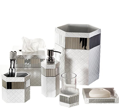 Creative Scents Quilted Mirror Bathroom Accessories Set, 6 Piece Bath Set Collection Features Soap Dispenser,...