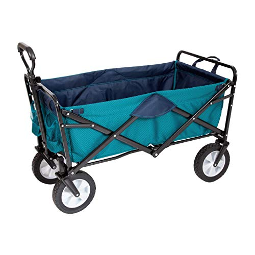 "MacSports Classic Collapsible Folding Outdoor Utility Wagon | Heavy Duty Cart w/Wheels for Groceries, Sports Equipment, Gardening, Camping, Tailgating | Two Tone Teal/Navy | 32.5"" L x 17.5"" W Basket"