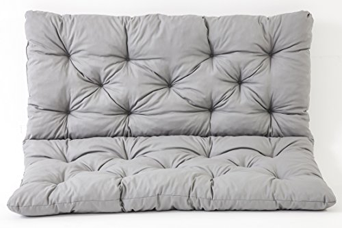 Meerweh Sitzkissen und Rückenkissen Bank Hanko, grau, ca 100 x 98 x 8 cm, Bankauflage, Polsterauflage